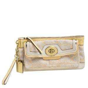Coach Beige/Cream Signature Canvas and Leather Turnlock Pocket Wristlet Clutch