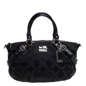 Coach Black Signature Canvas and Patent Leather Sophia Satchel