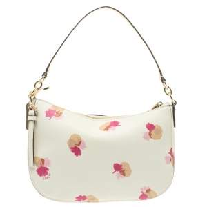 Coach White/Pink Floral Print Leather Chelsea Shoulder Bag