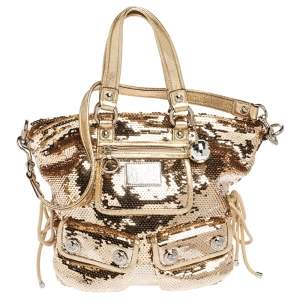 Coach Gold Sequin and Leather Spotlight Pocket Shoulder Bag