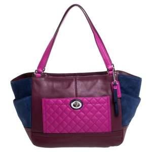 حقيبة يد كوتش شوبر سويدي وجلد متعددة الألوان