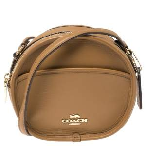 Coach Tan Leather Round Crossbody Bag