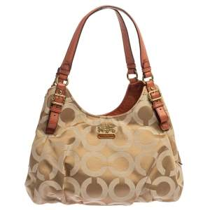 Coach Beige/Orange Op Art Canvas and Leather Madison Maggie Shoulder Bag