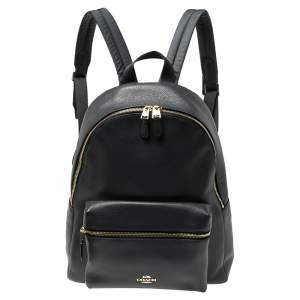 Coach Dark Grey Leather Large Charlie Backpack