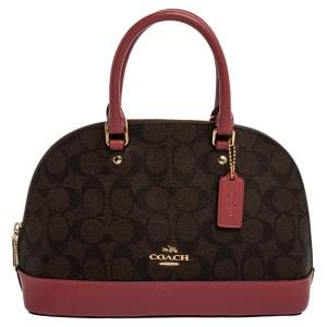 Coach Brown/Pink Signature Coated Canvas and Leather Mini Sierra Satchel