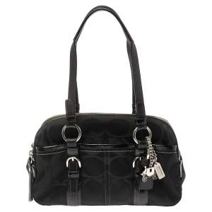 Coach Black Signature Canvas and Leather Soho Satchel