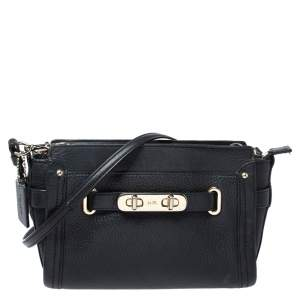 Coach Black Leather Swagger Wristlet Crossbody Bag