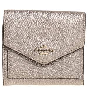 Coach Metallic Rose Gold Leather Colorblock Trifold Wallet