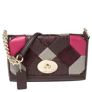 Coach Multicolor Leather,Exotic Embossed and Suede Crosstown Crossbody Bag