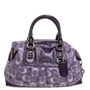 Coach Two Tone Purple Signature Fabric and Patent Leather Ashley Satchel