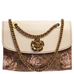 Coach Brown/Beige Prairie Floral Print Signature Coated Canvas and Leather Shoulder Bag