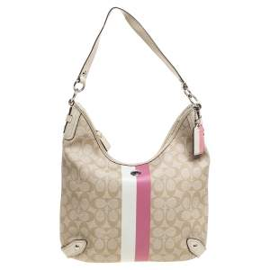 Coach Beige/Cream Signature Coated Canvas and Leather Hobo
