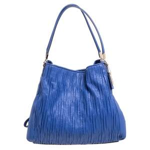 Coach Blue Leather Madison Phoebe Gathered Twist Shoulder Bag