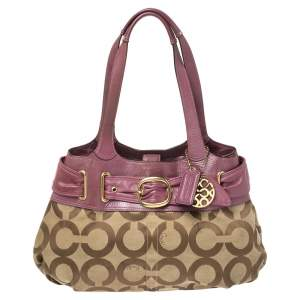 Coach Beige/Magenta Op Art Canvas and Leather Shoulder Bag