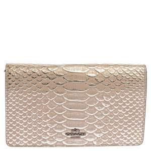 Coach Taupe Python Embossed Leather Callie Crossbody Bag