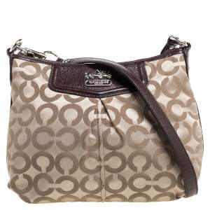 Coach Brown/Beige Signature Canvas and Leather Zip Shoulder Bag