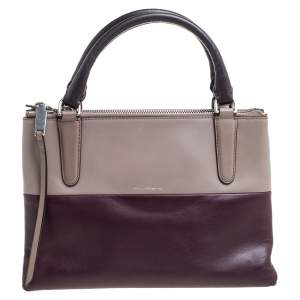 Coach Purple/Beige Leather Borough Colorblock Tote