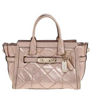 Coach Metallic Rose Gold Leather Swagger 27 Carryall Tote