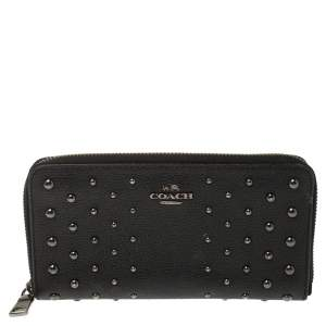 Coach Black Studded Leather Accordion Zip Around Wallet