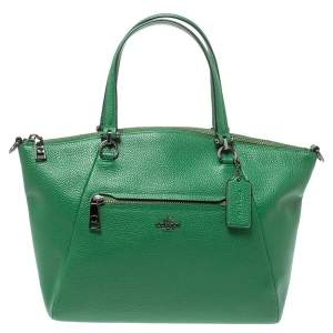 Coach Green Pebbled Leather Prairie Satchel