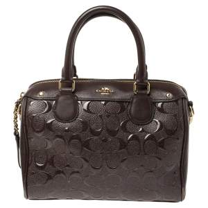Coach Burgundy Leather and Patent Leather Mini Bennett Satchel