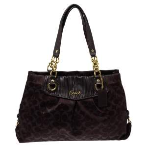 Coach Dark Brown Shimmer Signature Canvas and Leather Ashley Tote