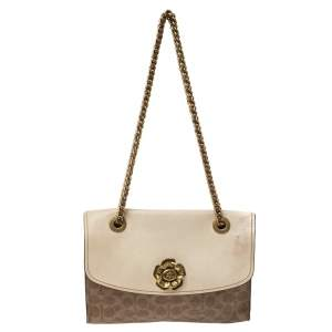 Coach Brown/Beige Signature Coated Canvas and Leather Shoulder Bag