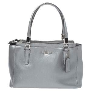 Coach Metallic Grey Leather Mini Christie Double Zip Tote