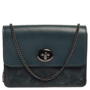 Coach Blue Leather and Suede Bowery Crossbody Bag
