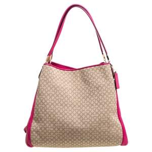 Coach Beige/Magenta Canvas and Leather Edie Shoulder Bag