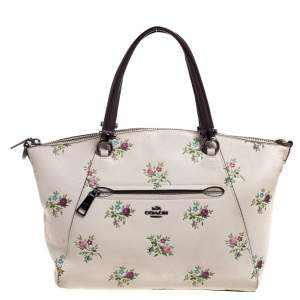 Coach Cream/Burgundy Daisy Print Leather Prairie Satchel