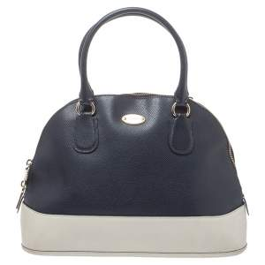 Coach Blue/Off White Leather Cora Dome Satchel