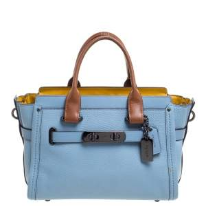 Coach Light Blue Leather Swagger 27 Carryall Satchel