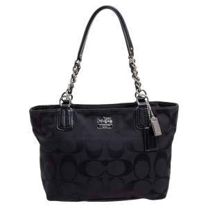 Coach Black Signature Canvas and Leather Tote