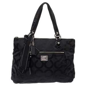 Coach Black Op Art Canvas and Patent Leather Glam Tote
