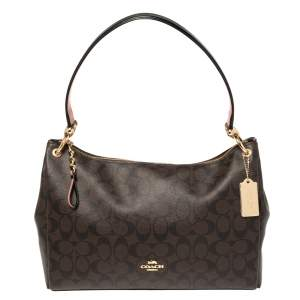 Coach Brown Signature Coated Canvas and Leather Small Mia Shoulder Bag