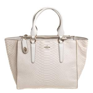 Coach Off White Python Effect Leather Crosby Tote