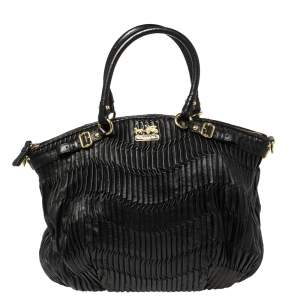 Coach Black Pleated Leather Sophia Madison Satchel