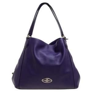 Coach Purple Leather Edie Shoulder Bag