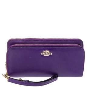 Coach Purple Leather Zip Around Wallet
