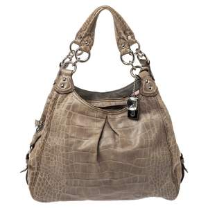 Coach Pale Green Croc Embossed Leather Madison Maggie Shoulder Bag
