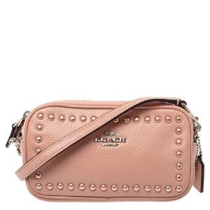 Coach Pink Leather Double Zip Crossbody Bag
