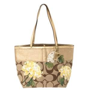 Coach Gold/Beige Signature Floral Applique Canvas and Leather Tote