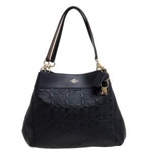 Coach Black Embossed Leather Lexy Shoulder Bag