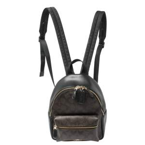 Coach Black/Brown Signature Coated Canvas and Leather Mini Charlie Backpack