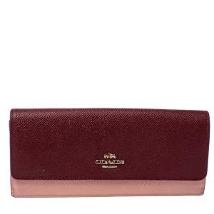 Coach Peach/Maroon Leather Flap Continental Wallet