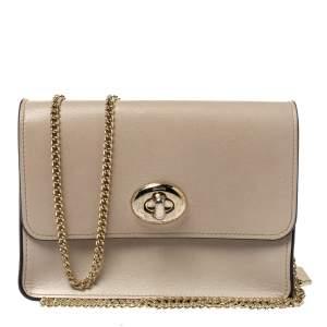 Coach Cream White Leather Turnlock Small Chain Crossbody Bag