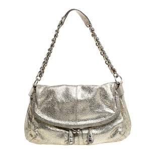 Coach Gold Textured Leather Frame Fold Over Hobo