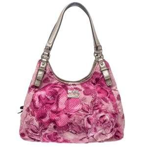Coach Pink Floral Fabric Maggie Shoulder Bag