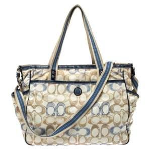 Coach Cream/Blue Signature Nylon Peyton Diaper Bag